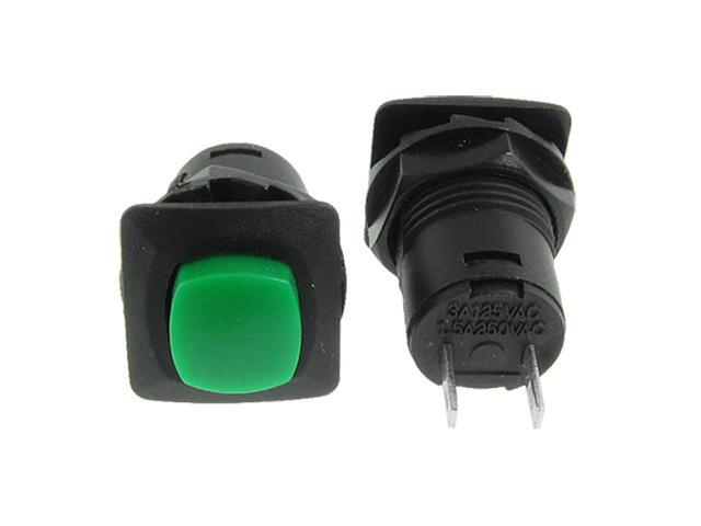 Unique Bargains 10 Pcs AC 125V/3A 250V/1.5A SPST ON/OFF Green Latching Push Button Switch