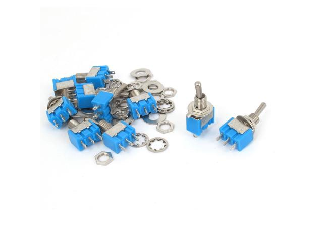 Unique Bargains 10 Pcs Blue 2Positions 3-Pin SPDT ON-ON Mini Toggle Switch 6A AC125V