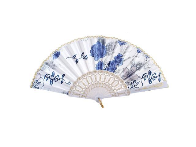 Flower Pattern Lace Rim Decor Summer Folding Hand Fan White for Woman