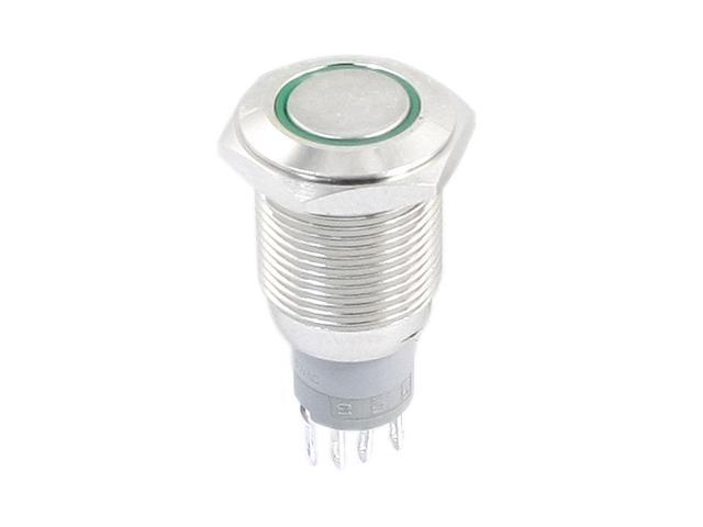 Unique Bargains Green Symbol LED Light SPDT 5 Pins 16mm Self-Locking Metal Pushbutton Switch