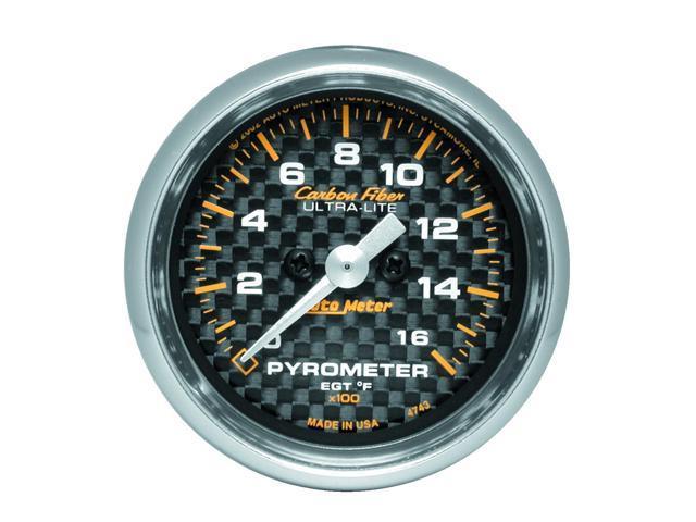 Auto Meter 4743 Carbon Fiber Electric Pyrometer Gauge