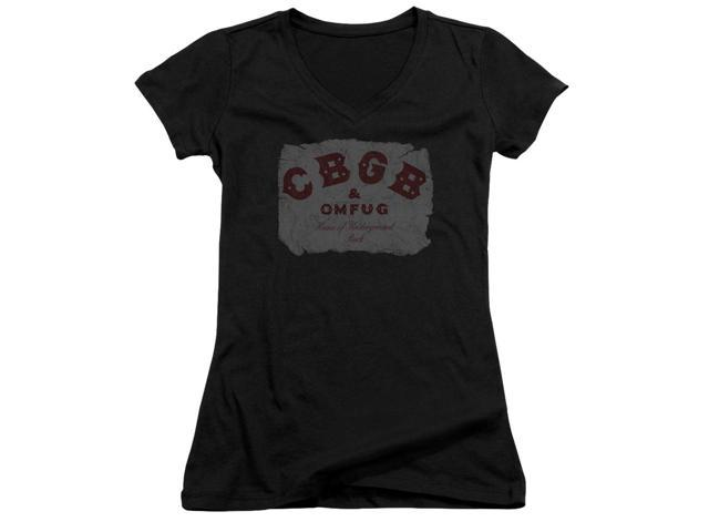 CBGB Crumbled Logo Juniors V-Neck Shirt