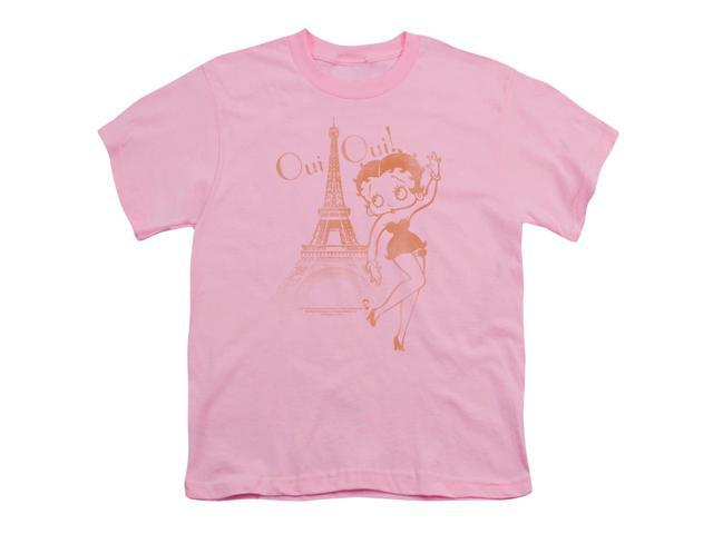Betty Boop Boys' Oui Oui Youth T-shirt Youth Small Pink