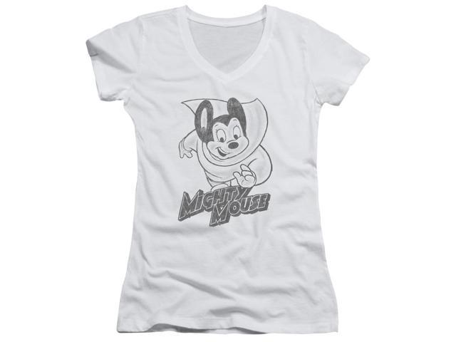Mighty Mouse Mighty Sketch Juniors V-Neck Shirt