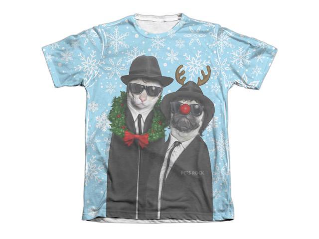 Pets Rock Blue Christmas (Front Back Print) Mens Adult Sub Shirt