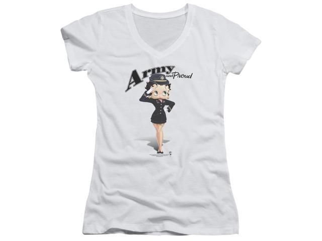 Betty Boop Army Boop Juniors V-Neck Shirt