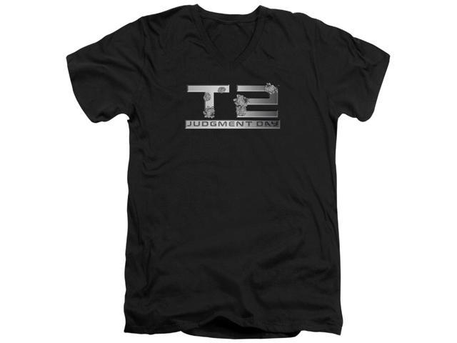 Terminator 2 Gunshot Logo Mens V-Neck Shirt