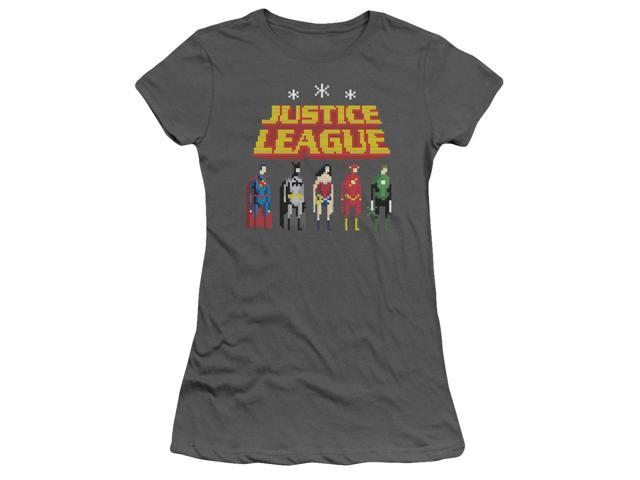 Jla Standing Below Juniors Short Sleeve Shirt