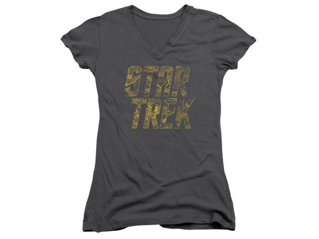 Star Trek Schematic Logo Juniors V-Neck Shirt