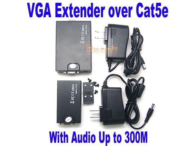 VGA 1x1 UTP Extender With Audio up to 300M via CAT5e/6 1920x1200 Gain Peak Adjust