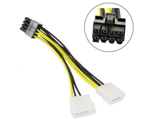 Dual Molex 4 to 8 Pin PCI-E Power Lead Cable for Asus MSI VGA Video Graphic Card