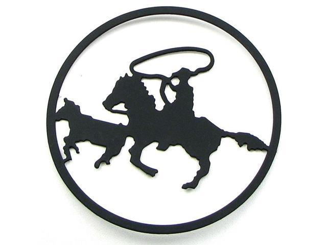 Metal Cut Out Roper On Horse-0170S-12107
