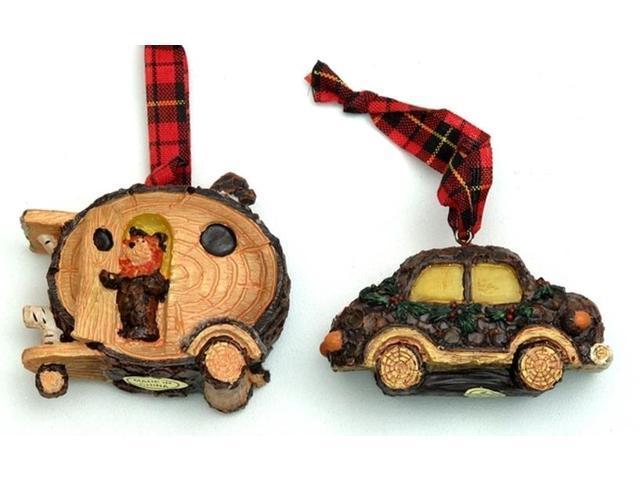 Rustic Log Car Ornaments Set of Two-0197-242977