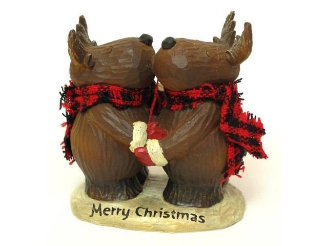 IWGAC 049-99419 Resin Woodlook Merry Christmas Moose Hug