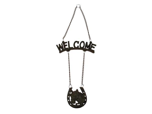 Cast Iron Welcome HorseHorseshoe Sign-0170S-08435