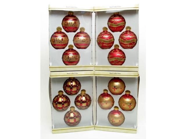 Glass Ball Ornament 4pc Set RedGold with Gold Glitter 4 Asst Styles Price EACH-0197-15233