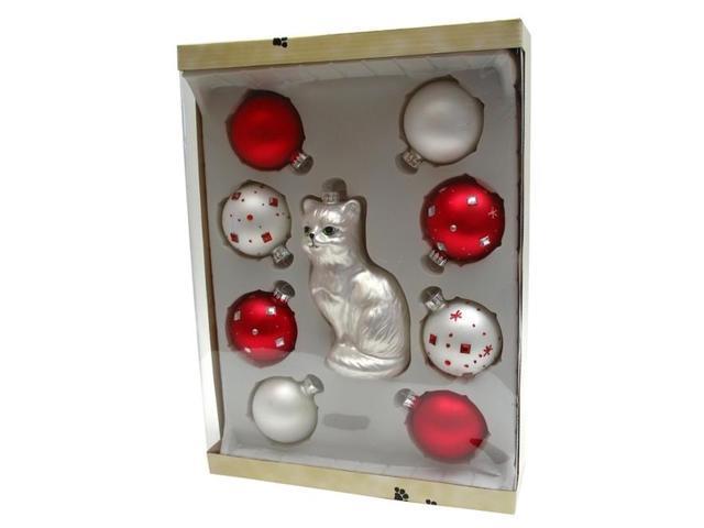 White CatRed Balls 9 pc Glass Ornament Set-0197-42302A