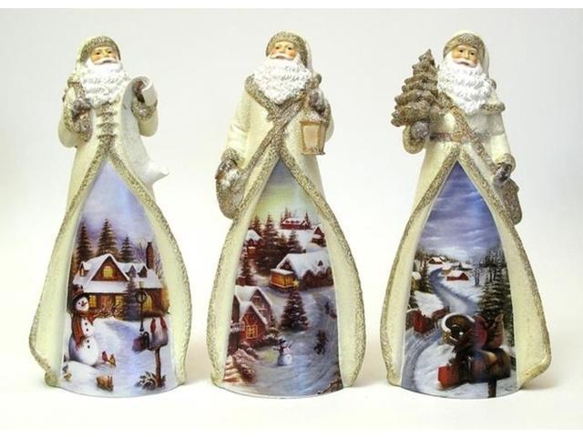 Resin Santa Figure with LED Light Three Styles, Price Each-049-90336