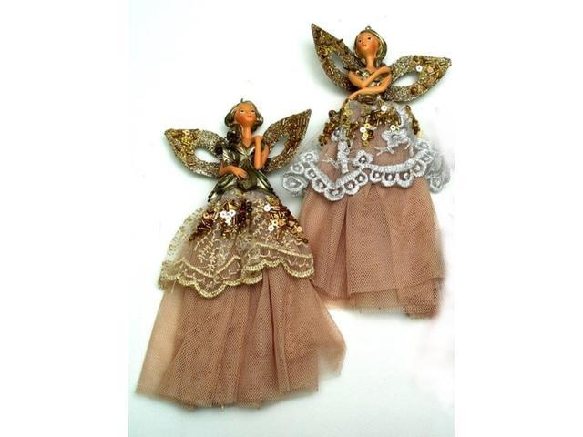 Elegant Lady with Gold Skirt Ornaments Set of Two-0197-238888