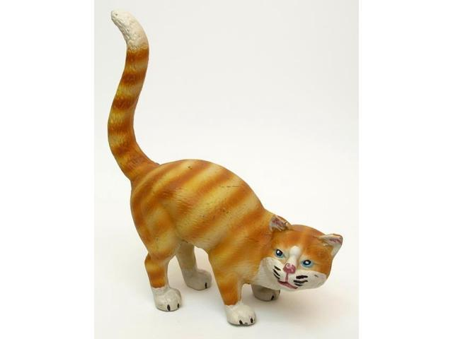 Large Cast Iron Cat Door Stop Yellow Tabby-0170S-04645