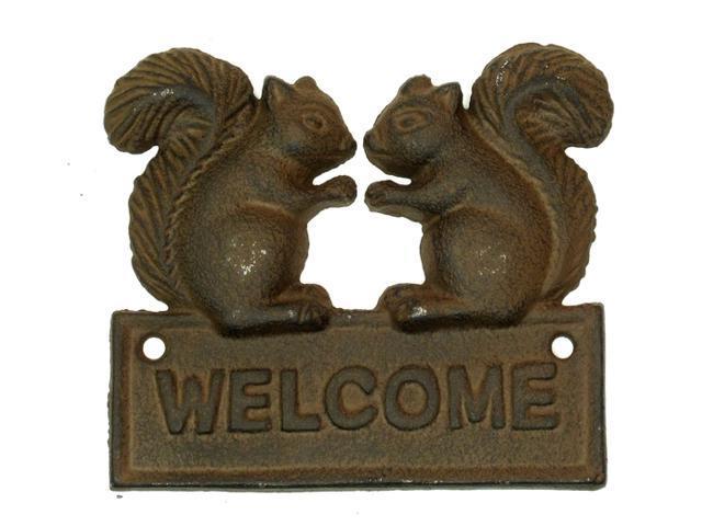 Cast Iron Squirrel Welcome Plaque-0170S-08431