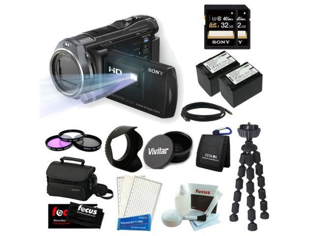 Sony HDR-PJ650V Handycam 32GB Full High Definition Camcorder with Projector + Two Sony 32GB Memory Cards + 3 Piece Filter Kit + Two Wasabi Power Replacement Batteries for NP-FV70 + Accessory Kit