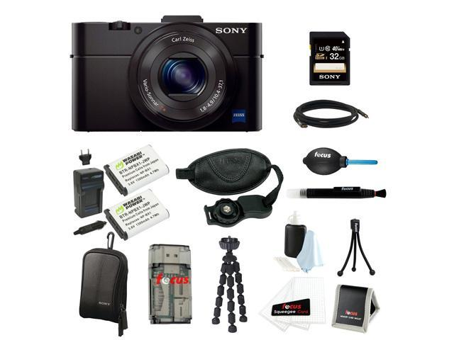 Sony DSC-RX100M II Cyber-shot Digital Still Camera Bundle with Sony 32GB Memory Card + Wasabi Power Replacement Battery for Sony DSC-RX1 + Sony Black Carrying Case + Wrist Grip Strap + Camera Accessor