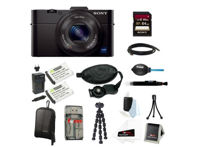 Sony DSC-RX100M II Cyber-shot Digital Still Camera Bundle with Sony 64GB Memory Card + Wasabi Power Replacement Battery for Sony DSC-RX1 + Sony Black Carrying Case + Wrist Grip Strap + Camera Accessor