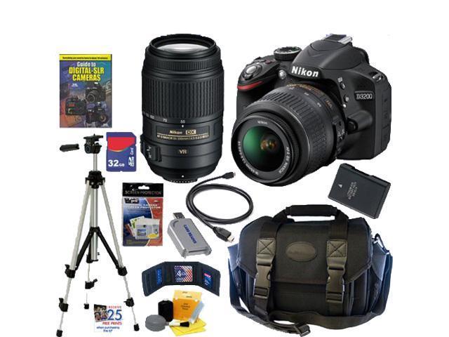 Nikon D3200 24.2 MP CMOS Digital SLR Camera with 18-55mm f/3.5-5.6G AF-S DX VR and 55-300mm f/4.5-5.6G ED VR AF-S DX NIKKOR ...