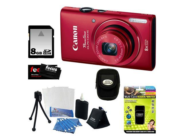 Canon PowerShot 130 ELPH IS 16.0MP Wi-Fi Digital Camera - Red + 8GB Memory Card + Multi Card Reader/Writer + Digital Camera Case Black + Flexible Tripod, Memory Card Wallet, 3pc Cleaning Kit