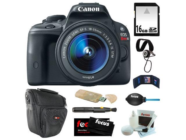 Canon sl1 Canon EOS Rebel SL1 18MP Digital SLR with 18-55mm EF-S IS STM Lens and 3-inch Touch Screen + 16GB SDHC + Card Reader + Zoom Lens Camera Case + Accessory Kit