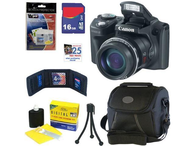 CANON SX500: Canon PowerShot SX500 IS Digital Camera IS 16.0 MP Digital Camera in Black + 16GB Memory Card + Classic Camera Bag + Accessory Kit