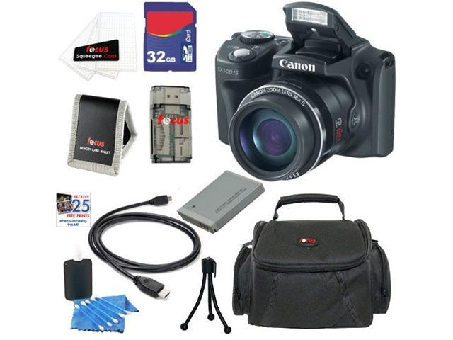 CANON SX500: Canon PowerShot SX500 IS Digital Camera IS 16.0 MP Digital Camera in Black + 32GB Memory Card + Replacement Lithium-ion Battery for CANON + Classic Camera Bag + Accessory Kit