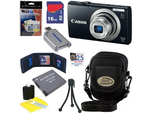 CANON A2300: Canon PowerShot A2300 IS Digital Camera 16.0 MP Digital Camera with 5x Digital Image Stabilized Zoom (Black) + NB-11L Battery + 16GB Deluxe Accessory Kit