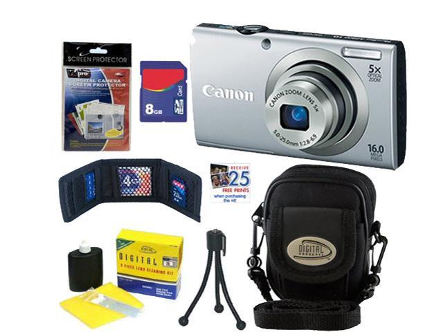 CANON A2300: Canon PowerShot A2300 IS Digital Camera 16.0 MP DigiCam Silver 8GB + Accessory Kit