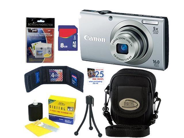 CANON A2300: Canon PowerShot A2300 IS Digital Camera 16.0 MP DigiCam Silver 8GB + Accessory Kit