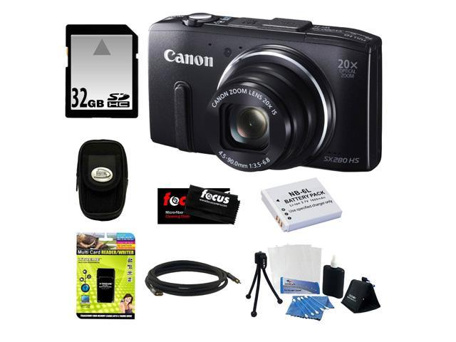 CANON SX280 PowerShot HS (Black) + 32GB Memory Card + Multi Card Reader Writer + HDMI To Mini-HDMI Cable - 6 foot + Rechargeable Lithium-ion Replacement Battery + Digital Camera Case + Accessory Kit