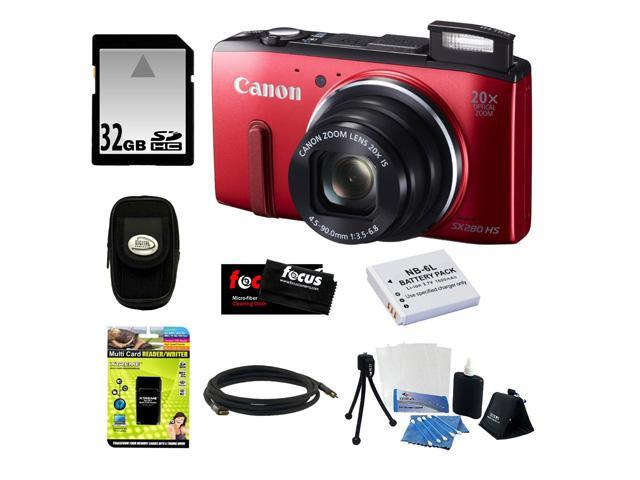 CANON SX280 PowerShot HS (RED) + 32GB Memory Card + Multi Card Reader Writer+ HDMI To Mini-HDMI Cable - 6 foot + Rechargeable Lithium-ion Replacement Battery + Digital Camera Case + Accessory Kit