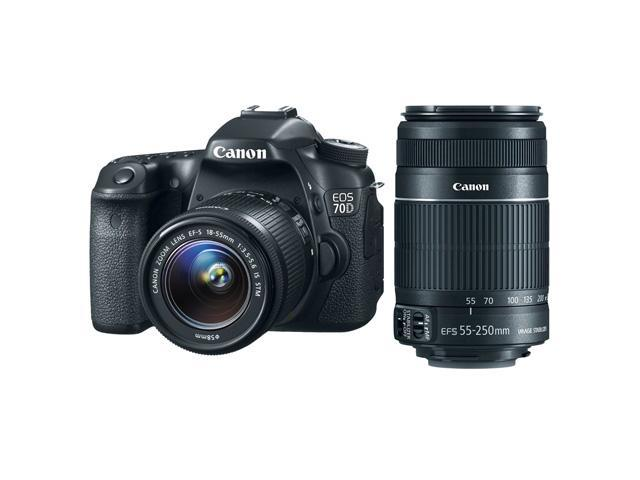 Canon 70d EOS 70D 20.2 MP DSLR Camera with EF-S 18-55mm IS STM and Dual Pixel CMOS AF + Canon EF-S 55-250mm f/4.0-5.6 IS ...