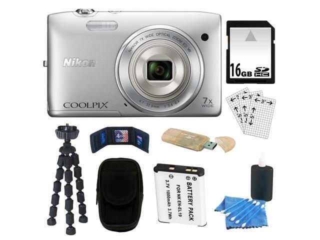 NIKON COOLPIX S3500 20.1 MP Digital Camera (Silver) + 16GB SDHC + Camera Case + Card Reader + Repalcement EN-EL19 Battery ...