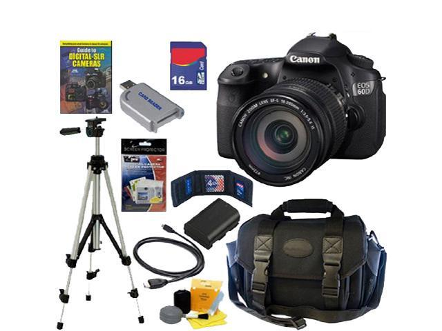 Canon 60d EOS 60D 18 MP CMOS Digital SLR Camera with EF-S 18-200mm f/3.5-5.6 IS Standard Zoom Lens + 16GB Deluxe Accessory Kit