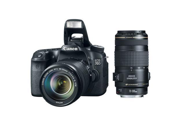 Canon 70d EOS 70D 20.2 MP DSLR Camera with Dual Pixel CMOS AF with EF-S 18-135mm F3.5-5.6 IS STM + Canon 70-300mm f/4.0-5.6 EF IS Image Stabilized USM Autofocus Zoom Lens