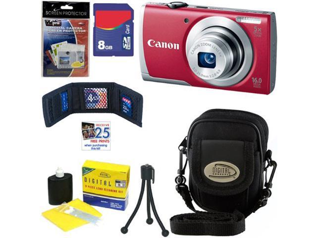CANON A2600: Canon PowerShot A2600 IS Digital Camera with 5x Optical Zoom and 720p Full HD Video Recording (Red) + 6pc Bundle 8GB Accessory Kit