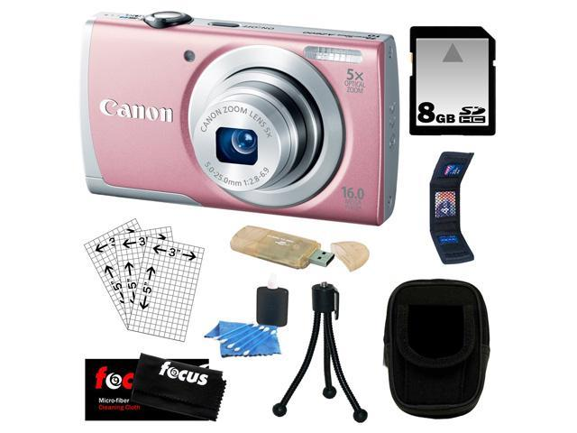 CANON A2600: Canon PowerShot A2600 IS Digital Camera with 5x Optical Zoom and 720p Full HD Video Recording in Pink + 8GB SDHC + USB Card Reader + Focus Cleaning Cloth + Accessory Kit