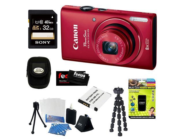 CANON PowerShot ELPH 130 IS 16.0MP Wi-Fi Digital Camera - Red + 32GB Class 10 UHS-1 Memory Card + Multi Card Reader/Writer + Replacement NB-11L Lithium-Ion Battery for Canon Powershot Cameras +Acc Kit