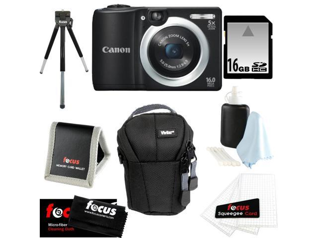 CANON PowerShot A1400 16.0 MP Digital Camera with 5x Digital Zoom (Black) + 16 GB Memory Card + Camera Case + Kit