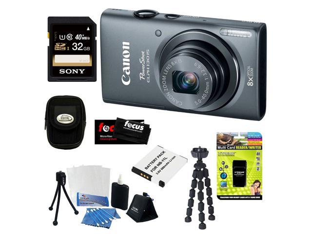 CANON PowerShot ELPH 130 IS 16.0MP Wi-Fi Digital Camera - Silver + 32GB Class 10 UHS-1 Memory Card + Multi Card Reader/Writer ...