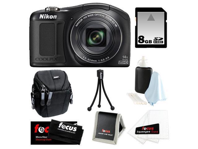 Nikon L620 COOLPIX 18.1 MP CMOS Digital Camera with 14x Zoom Lens and Full 1080p HD Video (Black) + 8GB Memory Card + Vivitar Small Camera Case + Kit