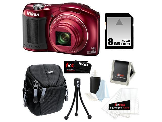 Nikon L620 COOLPIX 18.1 MP CMOS Digital Camera (Red) Bundle with 8GB SD Card and Accessory Kit
