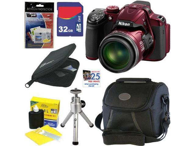 "Nikon COOLPIX P520 18.1 MP CMOS Digital Camera with 42x Zoom and ""GPS"" (Red) + 6pc Bundle 32GB Accessory Kit"